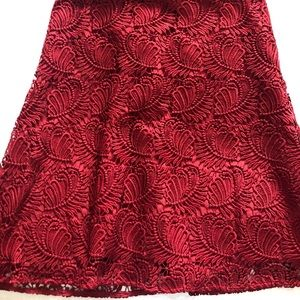 Loft red lace skirt